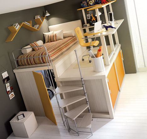 Lofted Space-Saving Furniture for Bedroom Interiors D