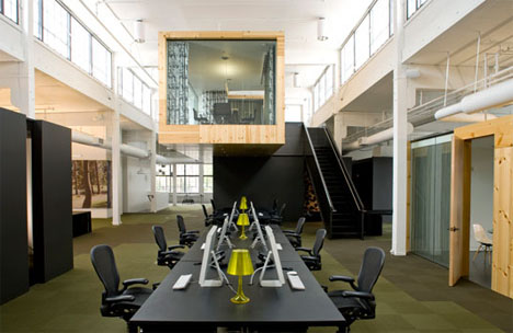 open office layout design. This offbeat office is a
