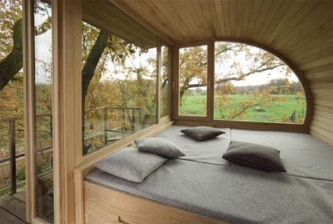 tree-house-interior-view. Some of their tree houses are simple, one level