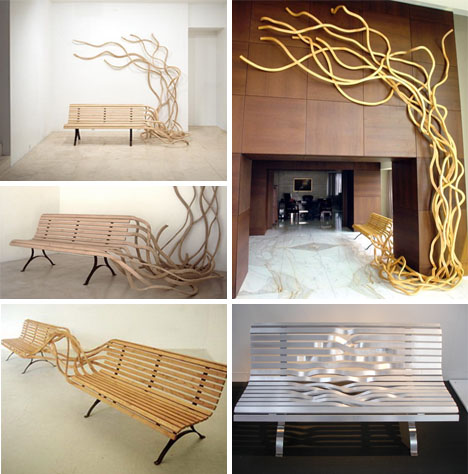artistic set of benches