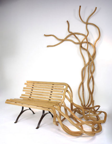 artistic wood bench art