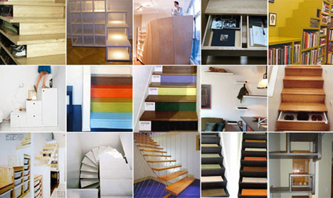 combined staircase storage designs
