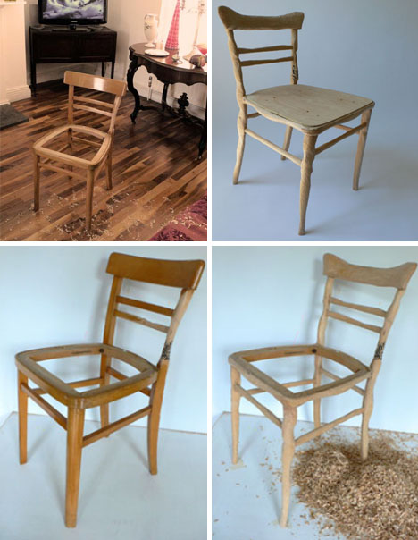 custom carved wooden chair