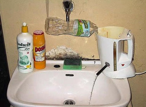 hilarious hot water solution. but don't do it