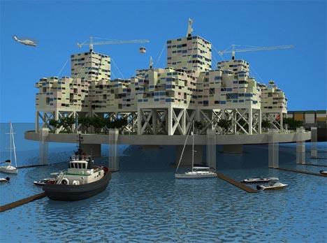futuristic floating city idea