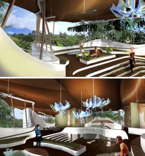 futuristic green house interior