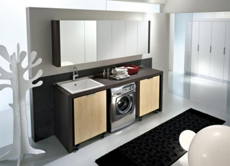 modern laundry storage cabinets