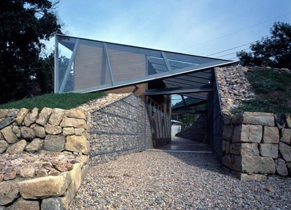 stone glass wood home