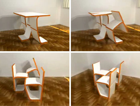 transforming convertible table chairs