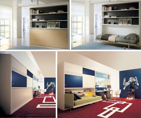 hidden single wall bed design