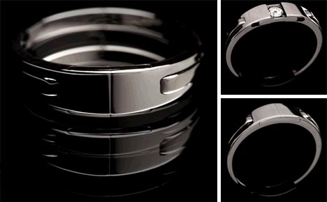this radical weddingband ring follows nearly an opposite to that of