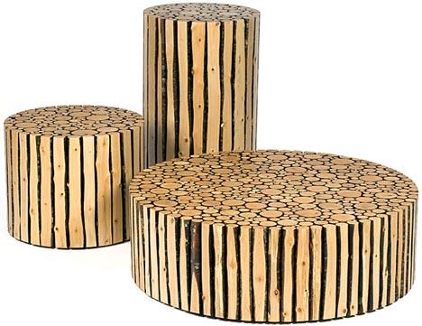 log furniture stools seats