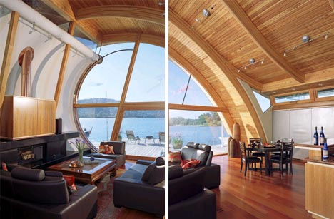 floating wood home interior