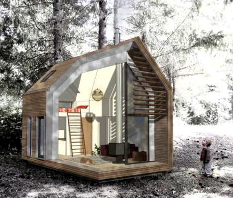 green prefab home plan