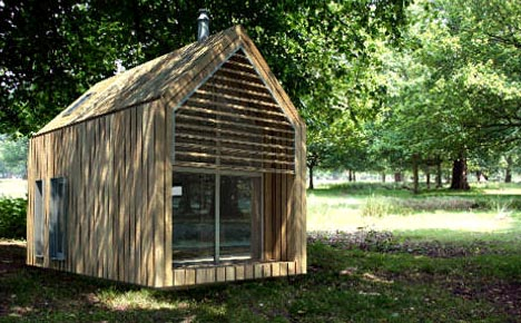 green prefab shed home