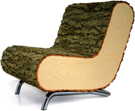 solid simple log chair