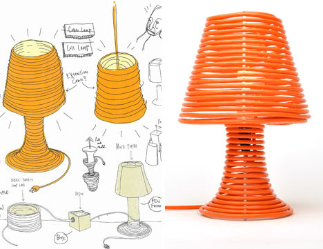 Houses design bright diy project idea coiled cord lamp shade stand coiled custom made lamp aloadofball Choice Image