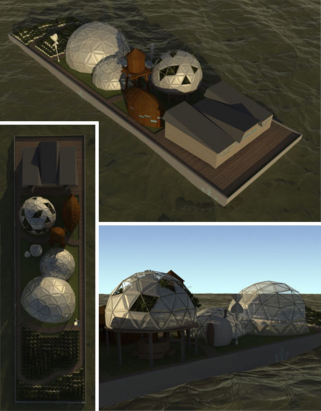 floating futuristic eco housing