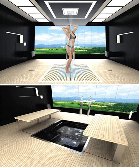 futuristic transforming bathtub shower