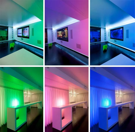 colorful interior lighting design