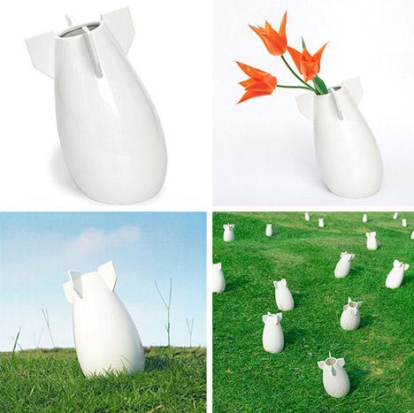 round white missile vase