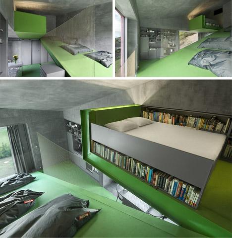 sloped home living bedroom design
