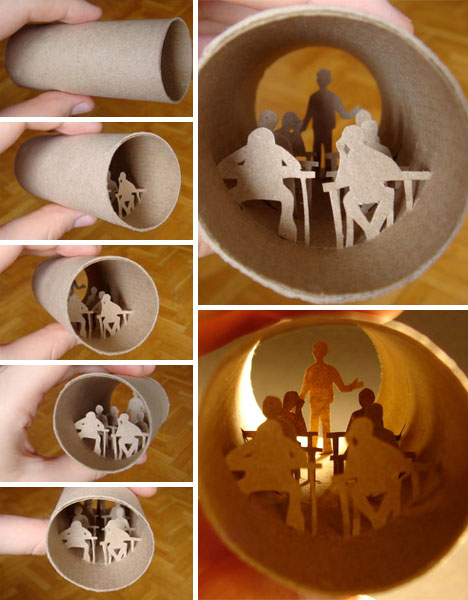 Creative art from toilet paper roll paperise 2012 for Easy art from waste material