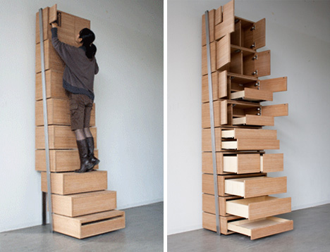 Escalera retractil y cajonera, me encanta! | Genialidades | Pinterest | Stair  shelves, Shelves and Staircases
