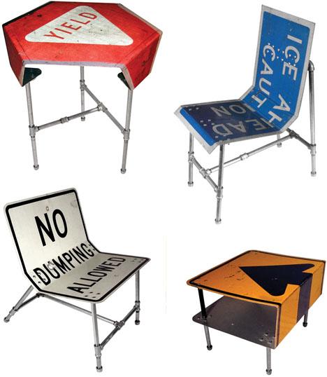 Street Sign Furniture Blue Ant Studio - Road sign furniture