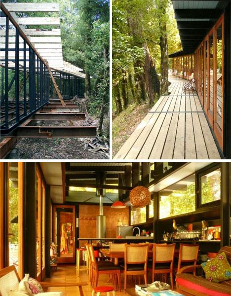Arkitektritat fritidshus av återvunna material