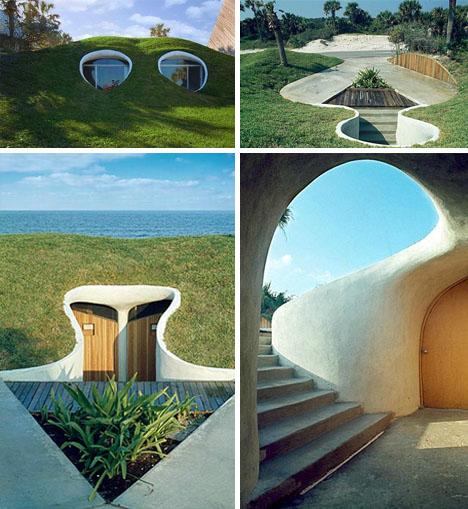 Saeba com hobbit hole duplex dug out from a hurricane for Modern hobbit house