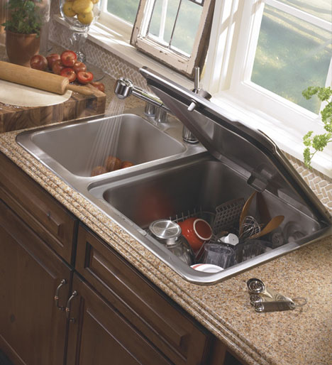 Compact Dishwasher Fits Into Kitchen Sink Slot