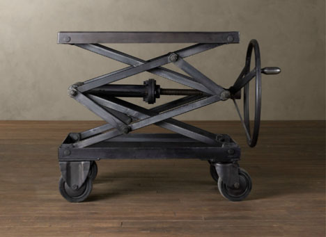 Industrial Retro: Adjustable Height Metal Scissor Lift Table