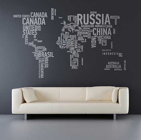 Interior architecture design world map wall stickers made of words world map wall stickers made of words gumiabroncs Gallery