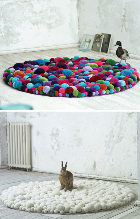 Teppiche aus Bommeln