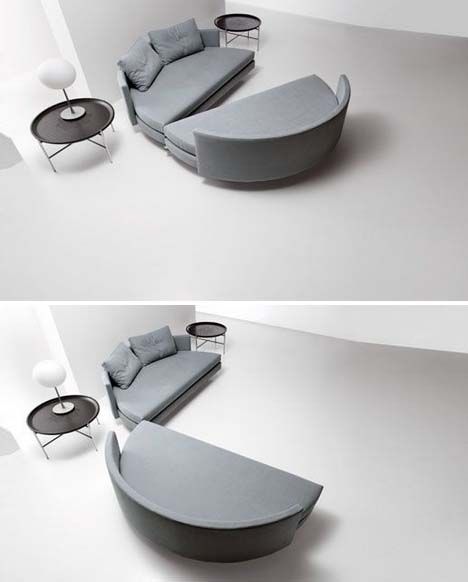 Sliced Spliced Pair Of Sofas Slide To Form Circular Bed Roixcroix