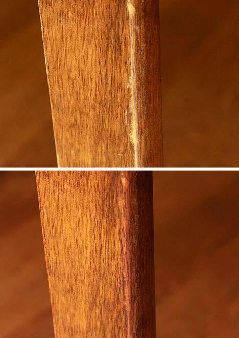 Mit einer Wallnuss Kratzer im Holz ausbessern