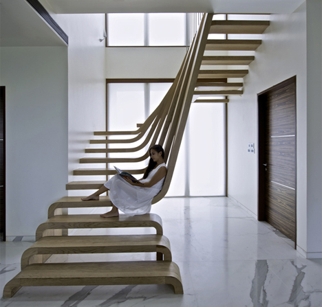 Home Water Fall Stairs : This cascading set of stairs in a Mumbai home is a perfectly executed ...
