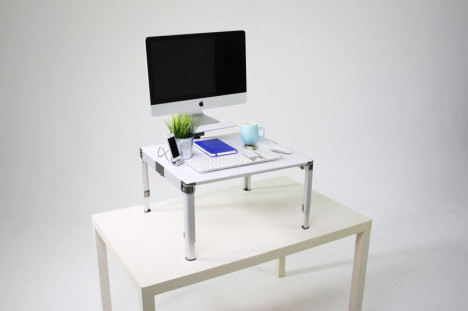 Work Healthier: Mobile Standing Desk with Monitor Stand