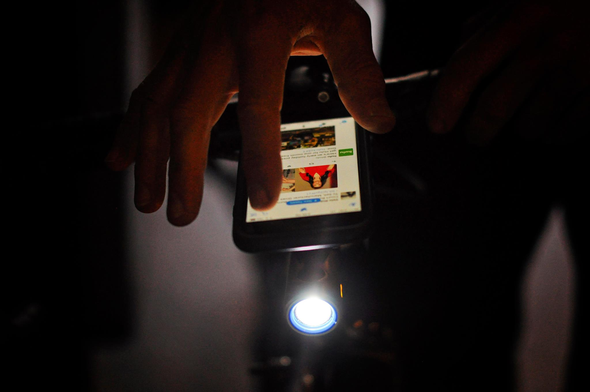 smartphone and bike light