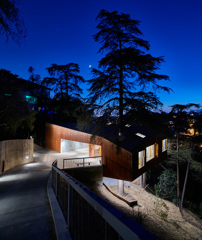 cantilevered home at night